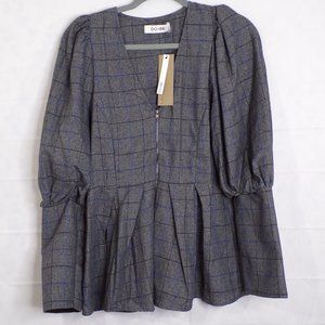 NWT Do + Be Plaid Bishop Sleeve Zip Front Top